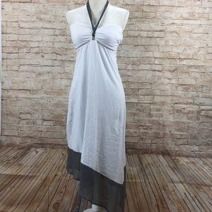 Tommy Bahama Asymmetrical white gray dress M